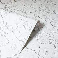 3D Effect Flower Wallpaper White