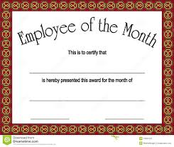 Printable Employee Of The Month Certificates Employee Of The Month Award With Stock Vector Illustration