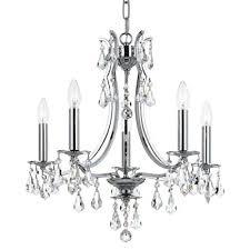 crystorama lighting group cedar polished chrome five light mini chandelier