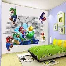 Mario Bros Bedroom Decor Aliexpresscom Buy Kids Nursery Super Mario Bros 3d View Art