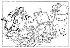 Small Picture Pooh and Friends Having Picnic Coloring Page Animal pages of