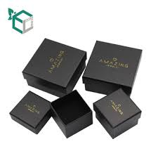 luxury custom logo matt black paper cardboard box jewelry packaging
