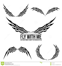 Wing Design Set Of Wing Emblem Element For Design Stock Vector