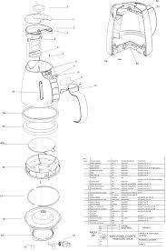 Perspectiva explotada con cuadro de materiales y especificaciones técnicas
