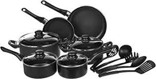 AmazonBasics 15-Piece Non-Stick <b>Kitchen Cookware Set</b> - Pots ...