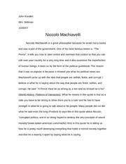 niccolo machiavelli study resources 4 pages niccolo machiavelli essay