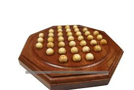 Wooden Board Game With Marbles French Octagonal Solitaire Game 30