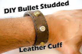 introduction bullet casing studded leather cuff