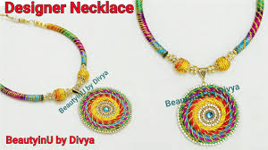How To Make Designer Necklace How To Make Designer Silk Thread Necklace At Home Multicolour Lace Necklace