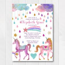 Birthday Invatations Glitter Unicorn Birthday Invitation