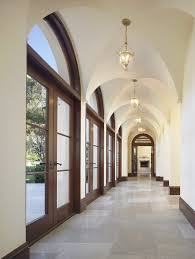arched ceiling hall mediterranean with breezeway acacia laminate wood  flooring