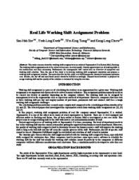 Shift Assignment Real Life Working Shift Assignment Problem Unimas Institutional