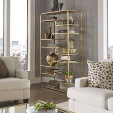 Giana Champagne Gold Mirrored Shelves Bookcase by iNSPIRE Q Bold by iNSPIRE  Q. Living Room FurnitureBookshelvesChampagne