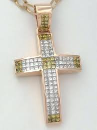 mens diamond pendant necklace rose gold yellow clear cross crucifix initial 2