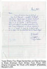 pac s is thug life dead essay from prison sells for k image 2pac s is thug life dead essay from prison sells for 173