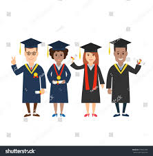 group young graduation students diploma medal stock vector  group of young graduation students diploma and medal university students in graduation caps and