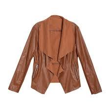 trendy retro lady women slim biker motorcycle pu soft leather zipper jacket coat brown asian size