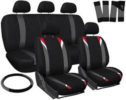 oxgord 17pc set flat cloth mesh car seat covers