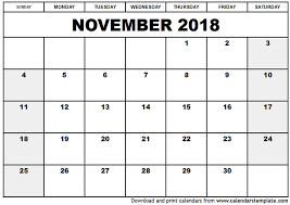 november 2018 printable calendar monthly calendar template