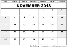 november 2018 printable calendar monthly calendar template
