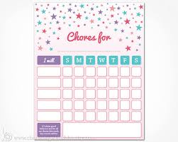 weekly reward chart printable chore chart printable instant download girls weekly chore