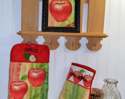 apple kitchen decor. embroidered kitchen apples 3 piece linen set, red apple décor, hand towel decor