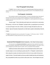 Four Paragraph Irony Essay