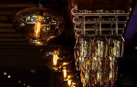 light night restaurant bar ceiling clean darkness hanging rack lighting inside lights glasses lowlight reflections light