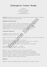 Sample Resume For Kindergarten Teacher Kindergarten Teacher Resume Samples Enderrealtyparkco 10