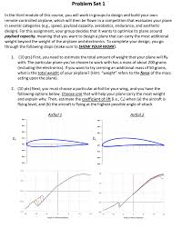 Airfoil Wing Design 3 10 Pts Given The Total Weight Of Your Airplan