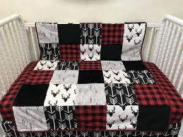 red buffalo plaid woodland crib bedding