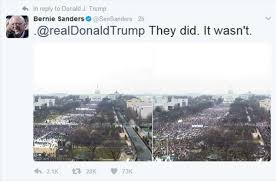 trump inauguration crowd size fox bernie sanders trolls trump on twitter with inauguration crowd size
