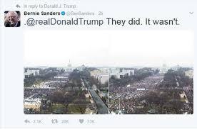 Bernie Sanders Trolls Trump On Twitter With Inauguration Crowd Size