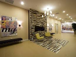 tiled wall with tiled floor in living room