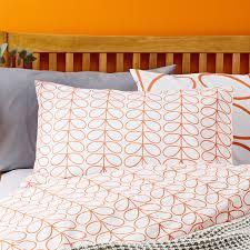 persimmon orla kiely large linear stem single duvet cover set persimmon