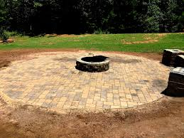 paver patio fire pit kit seat wall