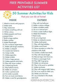 50 Summer Activities for Kids + Free Printable - Keri Lynn Snyder