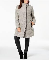 Anne Klein Plus Size Chart Plus Size Faux Leather Trim Boucle Coat
