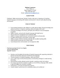 Spanish Resume Templates Resume In Spanish Example Professional Spanish  Teacher Templates Free