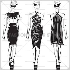 Black And White Vector Sketches Of Fashion