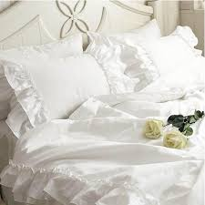 white double ruffle duvet cover set