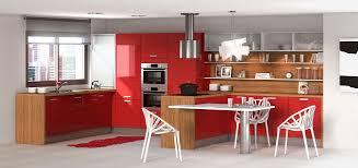 Cuisine Rouge En Bois Cuisine Rouge En Bois De Style Design