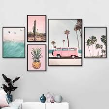Pink Bus Cactus Pineapple <b>Blue Sea</b> Beach Wall Art Canvas ...