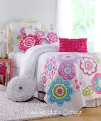 Shabby Cottage Chic Bedding Twin Quilts Comforter Rag Quilt ... & Happy Flowers Aqua Blue Lavender Pink Quilt Set Adamdwight.com