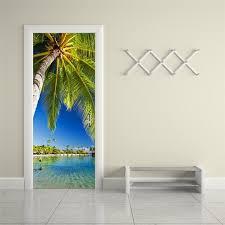 Lake Decor Accessories Lake palm trees 100D Wall Sticker Art Decor Vinyl Removable Mural 98