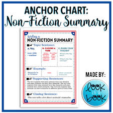 Non Fiction Summary Anchor Chart By Look In A Book Tpt