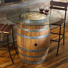reclaimed wine barrel pub table with glass top wine enthusiast intended for wine barrel furniture