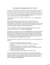 Extra Curricular Activities For Resumes Activities Resume Template For College Extracurricular Vesochieuxo