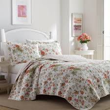 laura ashley breezy fl 3 piece orange king quilt set