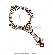 hand mirror drawing. Hand Mirror Drawn Sketch Isolated Stock Illustration Drawing